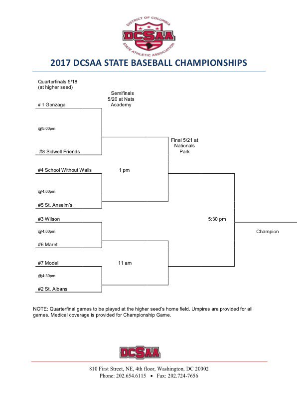 DCSAA tournament bracket 2017